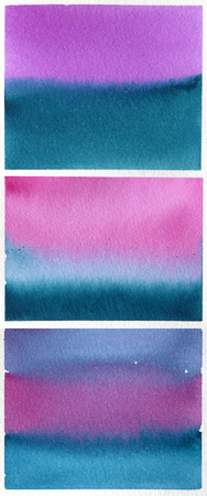 reminding: Set of blue-purple watercolor backgrounds reminding sunset sea landscape Stock Photo