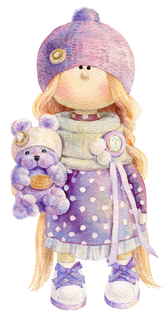Waterolor illustration of cute handmade stuffed doll toy with small teddy bear in her hand. Nice illustration for bithday or any other card design. Stock Photo
