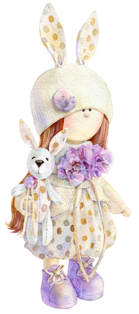 Waterolor illustration of cute handmade stuffed doll toy with small bunny in her hand. Nice illustration for bithday or any other card design. Standard-Bild