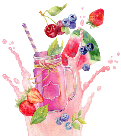 Refreshing pink fruit and berry cocktail with strawberry, blueberry, watermelon and cherry. Hand drawn colorful watercolor illustration. Smothie in mason jar on yougurt splash background.