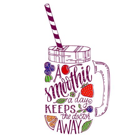 Hand drawn illustration de smoothie mason jar silhouette sur un fond blanc. affiche Typographie avec le slogan créatif - proverbe. Un smoothie par jour éloigne le médecin. Vecteurs