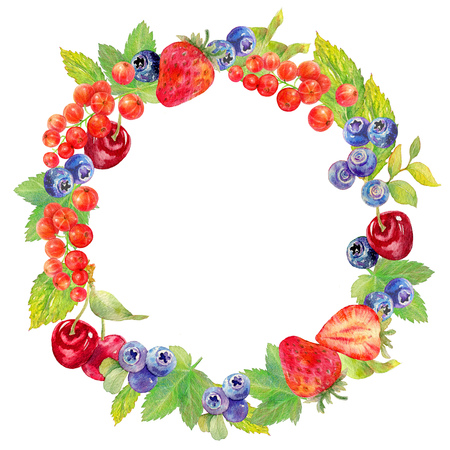 bilberry: Hand drawn watercolor illustration of berries in a wreath on white background. Botanical watercolor painting.