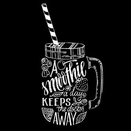 Hand getrokken illustratie van smoothie in mason jar silhouet op een witte achtergrond. Typografie poster met creatieve slogan - gezegde Een smoothie per dag houdt de dokter weg.