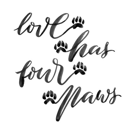 Handlettered quote .Love has four paws. Hand drawn brush calligraphy text, vectorized, white background.