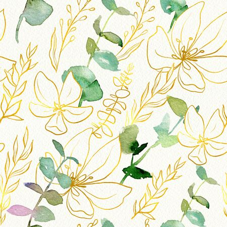 Watercolor seamless pattern with eucalyptus branches