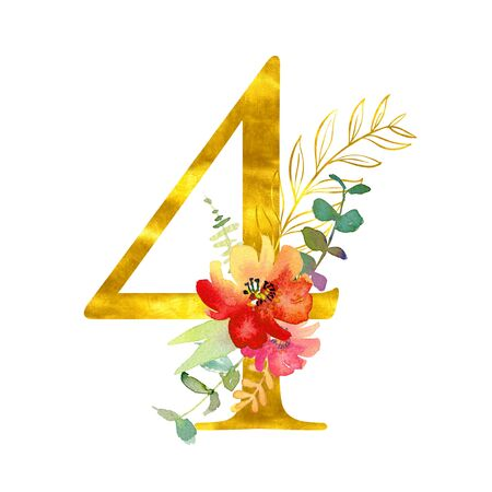 Golden classical form digit 4 decorated with watercolor flowers and leaves, isolated on white