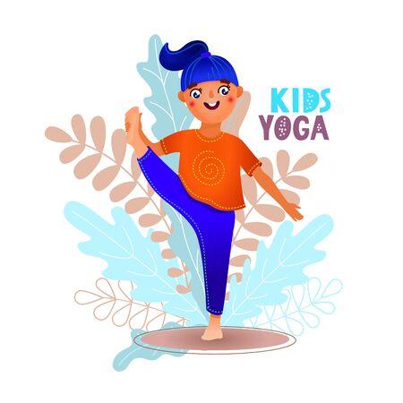 Cute girl doing yoga at home using smartphone application. Yoga kids cartoon for concept design. Yoga concept. Vectores