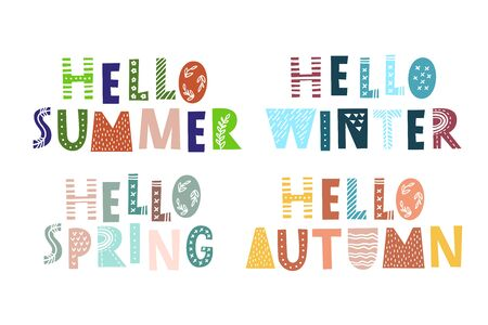 Hello summer spring autumn winter - hand drawn inscription in scandinavian style. Hand drawn colorful lettering for diary, calendar, planner, poster, greeting, stationary, invitations Ilustrace