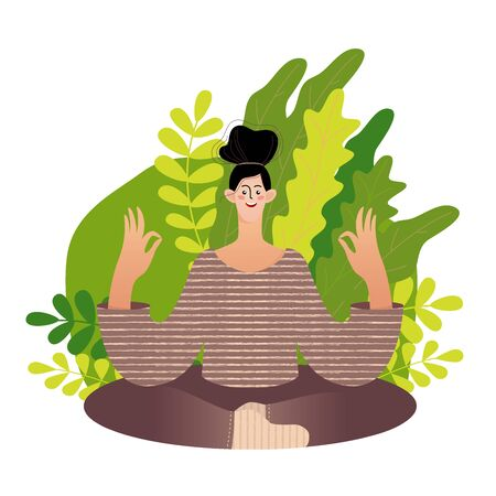 The girl meditates sitting in the Lotus position. Vector illustration of a woman doing yoga in the park. Vector flat illustration. Modern trendy colours.