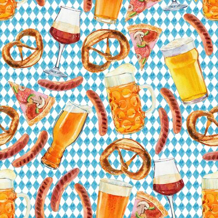 Seamless pattern watercolor Octoberfest beer collection. Classical Octoberfest beer mug with draft beer and snacks - pretzel, sausages, french fries.Pattern for Bar Menu, place mats, wrapping paper. High quality photo Stockfoto