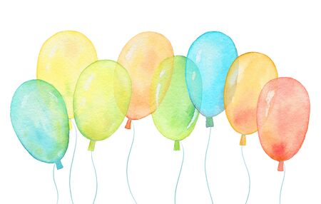 Watercolor banner with helium balloons on white background. Watercolor flying balloons illustration set.