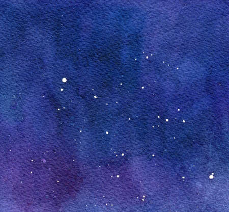 Watercolor colorful pattern on dark background. Colorful universe. Abstract science. Colorful abstract starry night. Retro background. Space background. Watercolour abstract texture. Blue background.