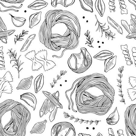 Hand drawn pasta seamless vector pattern. Spaghetti and other kinds of pasta vector illustration. Line art. Hand drawn black and white pasta collection.