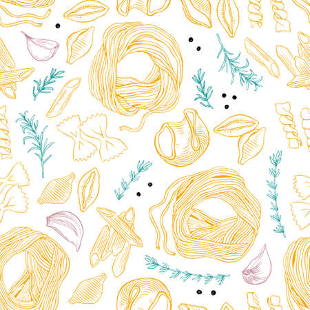 Hand drawn pasta seamless vector pattern. Spaghetti and other kinds of pasta vector illustration. Line art. Hand drawn black and white pasta seamless. Vector illustration. Garlic, rosemary and pepper.