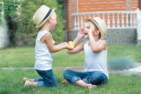 The little boy gives his brother a corn.Two brothers sitting on the grass and eat corn on the cob in the garden.