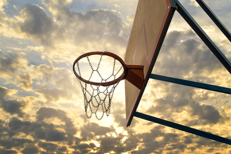 Street basketball.Basketball Hoop close up. Stock Photo