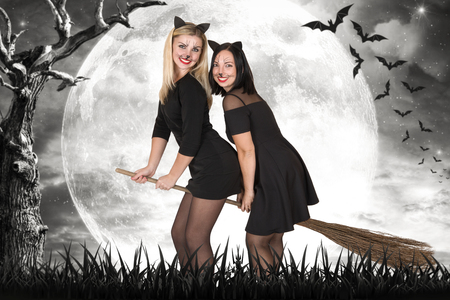 Two witches fly on broomsticks at night in the woods. Stock Photo