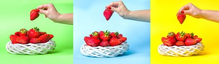 Ripe juicy strawberries in a wicker white basket on a colorful background. Female hand holds a big strawberry.Collage.