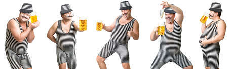 Cheerful man in a striped suit with a glass of cold foamy beer and dried fish.Collage.