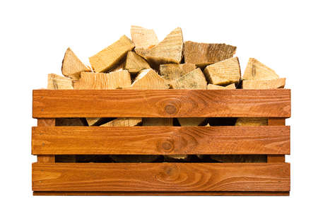Wooden crate with firewood isolated on white. 版權商用圖片