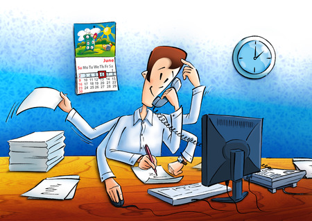 banian: Manager at work in the office Stock Photo