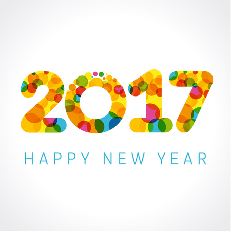 happy new year banner: 2017 happy new year numbers colorul. Happy holidays card with figures 2017 on colored blister and greeting text