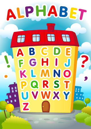english letters: Alphabet house. English alphabet poster in a shape of the house