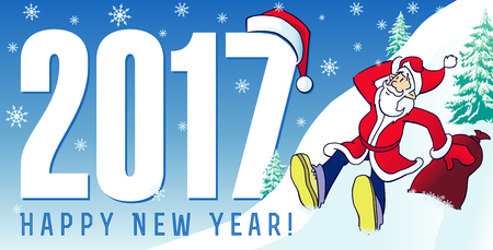 happy new year text: Santa new year cards 2017. Happy New Year 2017 greeting card with funny Santa Claus and greeting text