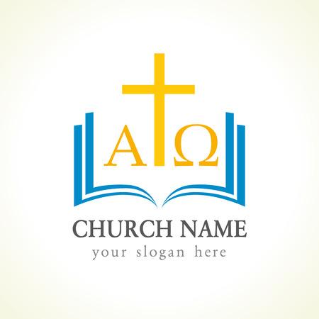 cruz de la iglesia alfa y omega biblia Ilustración de vector