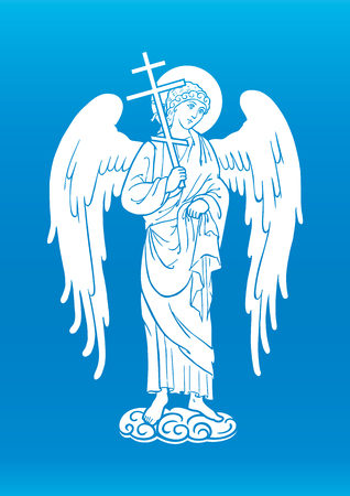 guardian: Guardian angel with a cross on cloud
