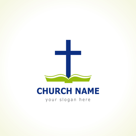 evangelical: Bible cross church. Template for the church in the form of a cross with the green Bible Illustration