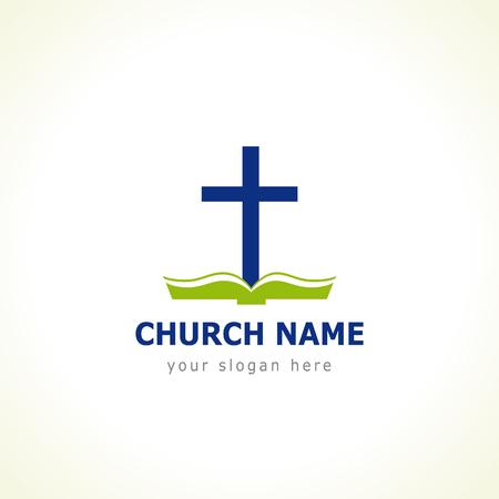 Bijbel kruis kerk. Sjabloon voor de kerk in de vorm van een kruis met de groene bijbel