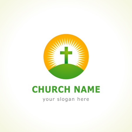 calvary: Calvary green cross on the sun church Illustration