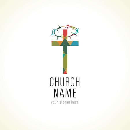 Church cross crown of thorns