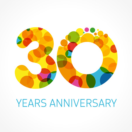 30 years anniversary circle colored Stock Illustratie