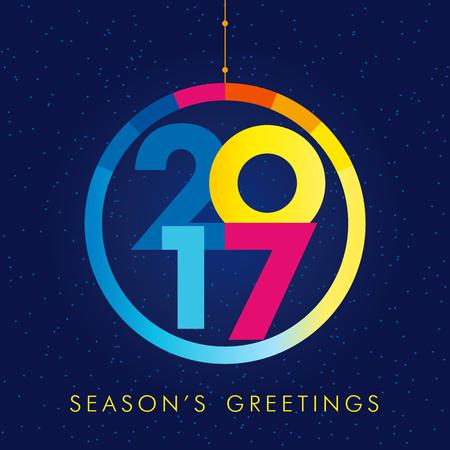 2017 季節のご挨拶。2017 年クリエイティブ色のグリーティング カード、パーティー イベントのデザイン  イラスト・ベクター素材
