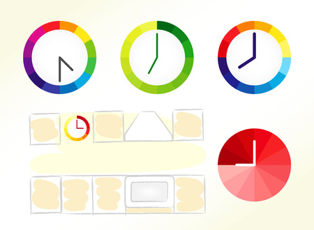extractor hood: Clock design ideas. Set of clock icons and kitchen schematic picture