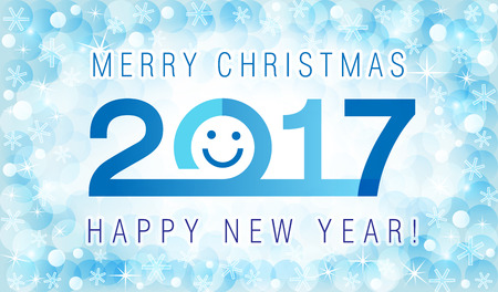 x mas parties: Merry Christmas and Happy New Year 2017 smiling face card.