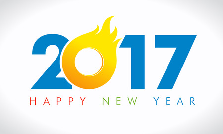 greeting: 2017 flame new year card. Happy holidays card with color figures in 2017 in fire and greeting text