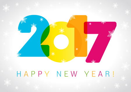 happy new year banner: 2017 new year card. Happy holidays card with snow flakes and color figures 2017