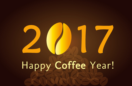 coffee beans: 2017 Happy New Year. Christmas card with coffee bean for cafes and coffee companies Illustration