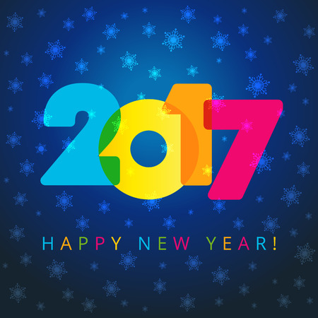 new year card: 2017 new year navy blue card. Happy holidays card with snow flakes, color figures in 2017 and happy new year text