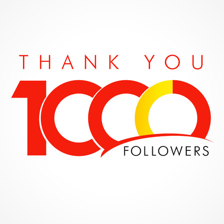 followers: Thank you 1000 followers. The thanks card for network friends with 1000th numbers text