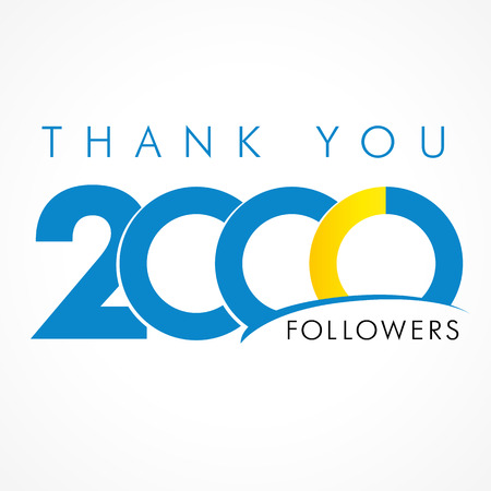 Thank you 2000 followers. The thanks card for network friends with 2000th numbers text Ilustração