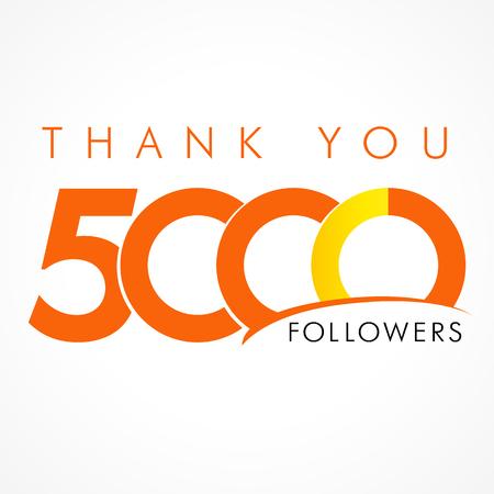 Gracias 5000 seguidores. La tarjeta de agradecimiento para los amigos de la red con el texto de 5000 números. Foto de archivo - 57565691
