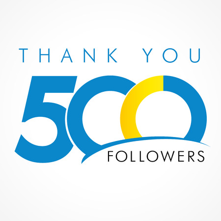 followers: Thank you 500 followers. The thanks card for network friends with 500 numbers text