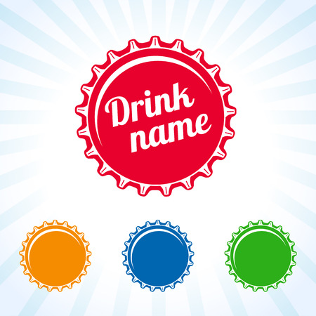Fles dekking gekleurd icoon. Gekleurde fles caps ontwerp voor sap, water, cola en frisdrank drinken. Drink deksel ontwerp