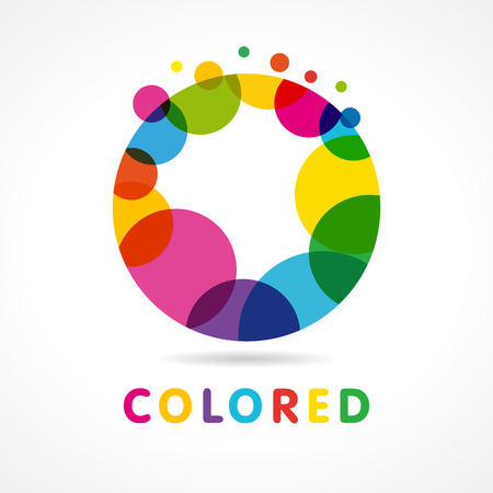 Design template element abstract colorful bubble of letter O icon. Colored abstract circle O icon Ilustracja