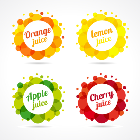 orange juice: Set of fresh juice icon. fresh juice with oranges, apples, lemons and cherrys framed by orange, green, yellow and red colorful bubbles