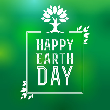 earth day: Happy Earth Day. Happy earth day lettering card, poster for Earth Day illustration with tree and leaves. Earth day background Illustration